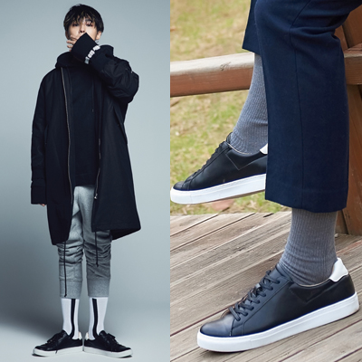 2016 FW GD Black Leahter Low Sneakers 8SECONDS
