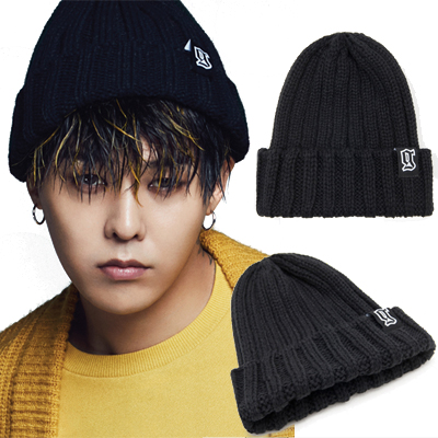 2016 FW [8 X GD's PICK]GD Black Initial Knit Beanie G-DRAGON Colaboration 8SECONDS