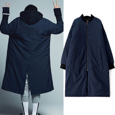 [35%Sale][8 X GD's PICK]Navy Long MA-1 Jumper - G-Dragon GD G-DRAGON Colaboration 8SECONDS