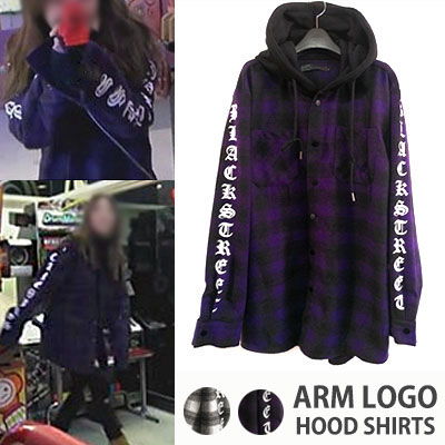 K-POP STAR STYLE!Kisum style! Layered style! Brushed hooded check shirt(IVORY,PURPLE)