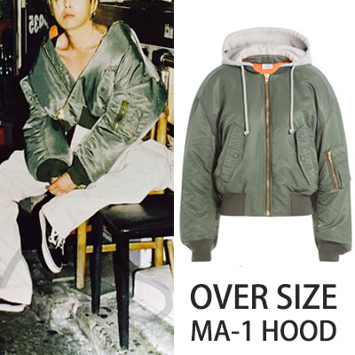 ★ Female (M) added size ★G-DRAGON ST.LAYERD STYLE!RED AND KHAKI COLOR OVERSIZE HOOD BOMBER JACKET★HOOD MA-1★