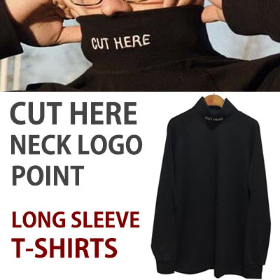 CUT HERE NECK LOGO POINT T-SHIRTS