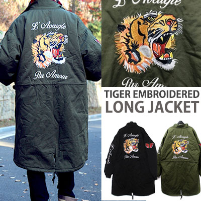 TIGER EMBROIDERED MILITARY LONG JACKET