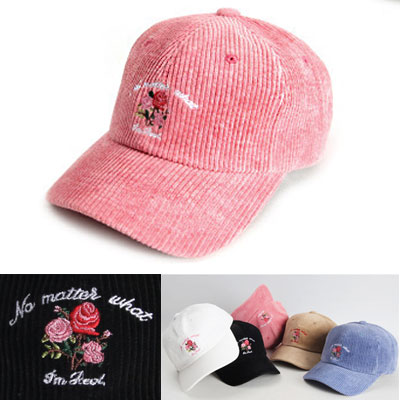 ROSE EMBROIDERED CORDUROY BALL CAP