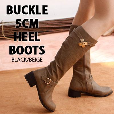 [RANG SHE][22.5~25.0cm]BUCKLE 5CM HEEL BOOTS