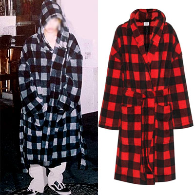 (Temporarily out of stock)CHECK FLEECE ROBE STYLE LONG COAT/G-DRAGON/SANDARA style