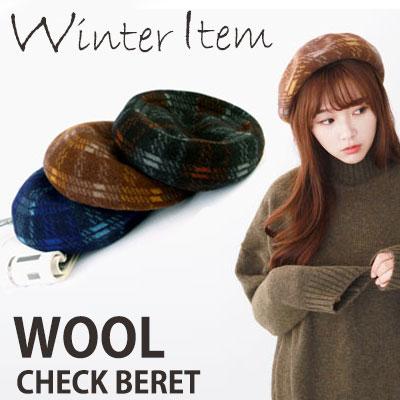 WINTER WARM ITEM!WOOL CHECK BERET