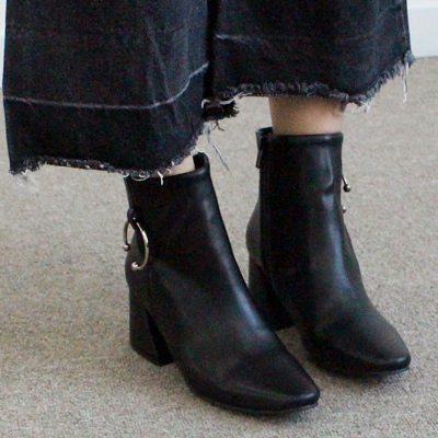 [RANG SHE][22.5~25.0cm] ★Popular★ Pierce Ring Point Chealsea Boots