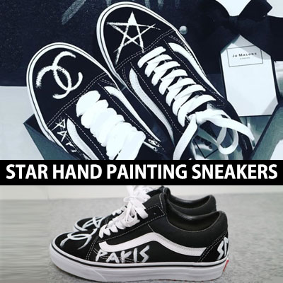 (unisex 225mm~280mm) STAR HAND PAINTING SNEAKERS