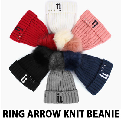RING ARROW KNIT BEANIE FLUFFY FUR BALL