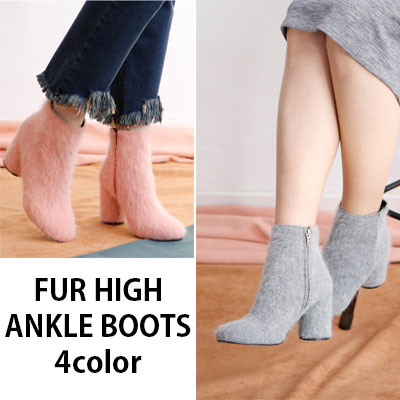 FUR HIGH ANKLE BOOTS 4COLOR