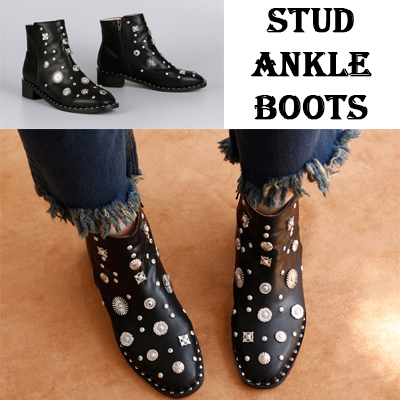 [RANG SHE]STUD ANKLE BOOTS