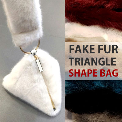FAKE FUR TRIANGLE SHAPE BAG