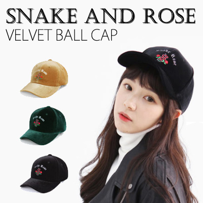 SNAKE AND ROSE LOGO VELVET BALL CAP