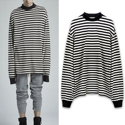 GOT7 STYLE! HIGH NECK OVERFIT STRIPE LONG TEE