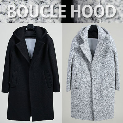 BOUCLE HOOIE SNAP BUTTON COAT