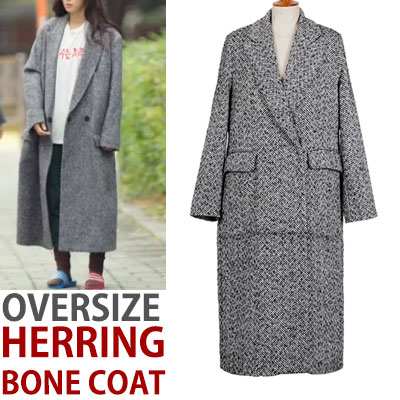 OVERSIZE FIT HERRINGBONE COAT/legend of the blue sea style