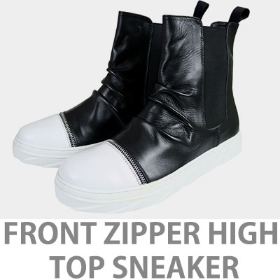 [25.5~28.0cm]FRONT ZIPPER HIGH TOP LETHER SNEAKERS