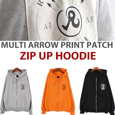 MULTI ARROW PRINT PATCH ZIPUP HOODIE
