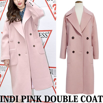 miss A suzy st! INDIE PINK DOUBLE COAT BIG POCKET WIDE COLLAR