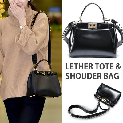 SQUARE STUDS STRAP LEATHER SHOUDER BAG /TOTE BAG