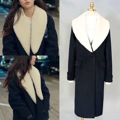 50% WOOL/Legend of the blue sea JUN JI HYUN st.SHEARLING SHERPA COLLAR LONG COAT