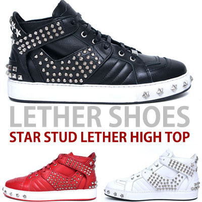 [25.5~28.0cm]LEATHER SHOES STAR STUDS HIGH TOP(BLACK,RED,WHITE)