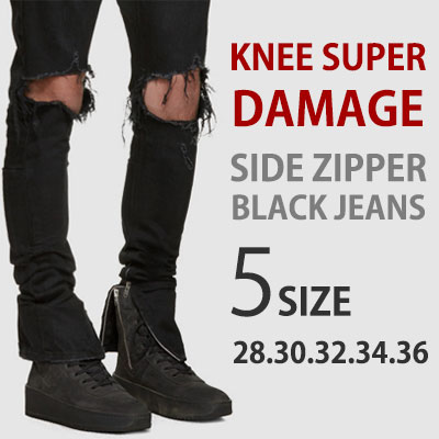 ★ Choose from 5 sizes ★[riri zipper]Justin Bieber st. Excellent elasticity! Side zipper Super ripped Black Jeans