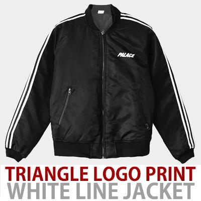 TRIANGLE LOGO PRINT WHITE LINED BOMBER JACKET