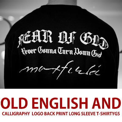 OLD ENGLISH AND CALLIGRAPHY  LOGO BACK PRINT LONG SLEEVE T-SHIRTS