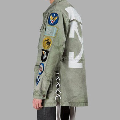 MULTI LOGO PATCHED SLEEVES MILITARY JACKET