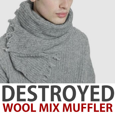 DAMAGED WOOL MIX MUFFLER/pink,grey,navy