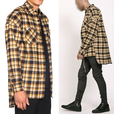 YELLOW&BROWN CHECK FLANNEL SHIRT