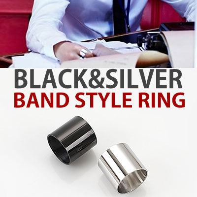 k-pop idol BTS st./BLACK&SILVER BAND STYLE RING