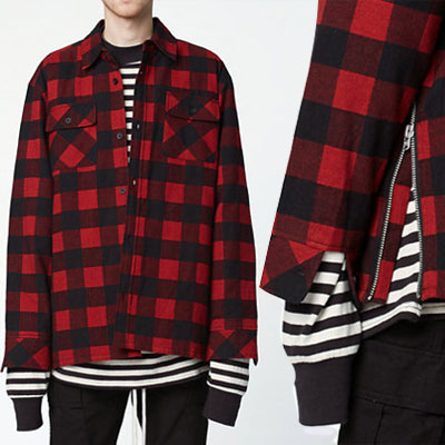 SIDE ZIPPER RED CHECK FLANNEL SHIRT