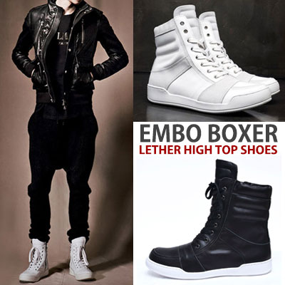 real leather[25.5~28.0cm]/EMBROIDER LEATHER BOXER SHOES (HIGH TOP)