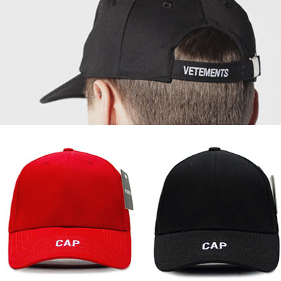 FRONT&BACK LOGO EMBROIDED BALL CAP/red,black