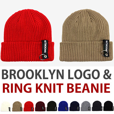 BROOKLYN LOGO&RING KNIT BEANIE