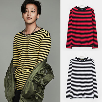[8 X G-DRAGON](original)YELLOW,RED,WHITE STRIPE T-SHIRTS_G-Dragon GD collaboration