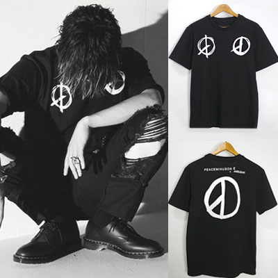 PEACE MARK PRINT SHORT SLEEVE T-SHIRTS/BIGBANG G-DRAGON st./FXXK IT