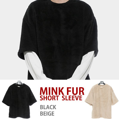 MINK FUR SHORT SLEEVE(black,beige)