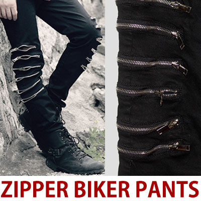 MULTI ZIPPER POINT BIKER PANTS