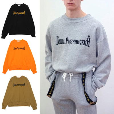 ★ver.2★4COLOR★RUSSIAN PHRASE EMBROIDERY SWEATSHIRT