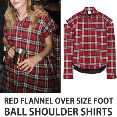 2ne1 SANDARA ST.RED FLANNEL OVER SIZE FOOT BALL SHOULDER SHIRTS