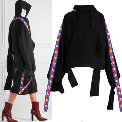 [2017 fw Restock]17ss LONG TAPE POINT LONG SLEEVE PULLOVER HOODIE/black