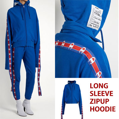 17ss LONG TAPE POINT LONG SLEEVE ZIPUP BLUE HOODIE/blue☆BCV