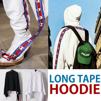 17ss LONG TAPE POINT LONG SLEEVE PULLOVER HOODIE/white☆BCV