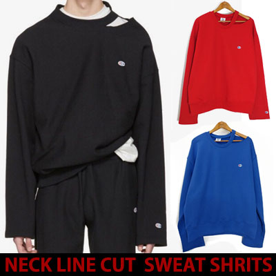 17ss NECK LINE HALF CUT SWEATSHIRTS/blue,red,black☆BCV