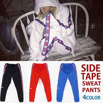 [2017 fw Restock]SANDARA STYLE! Side Tape Point Sweat Pants / Jogger Pants (RED, BLACK, BLUE, WHITE)☆BCV