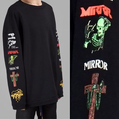17ss BLACK MIX ROCK OVER FIT SIZE LONG SWEATSHIRTS